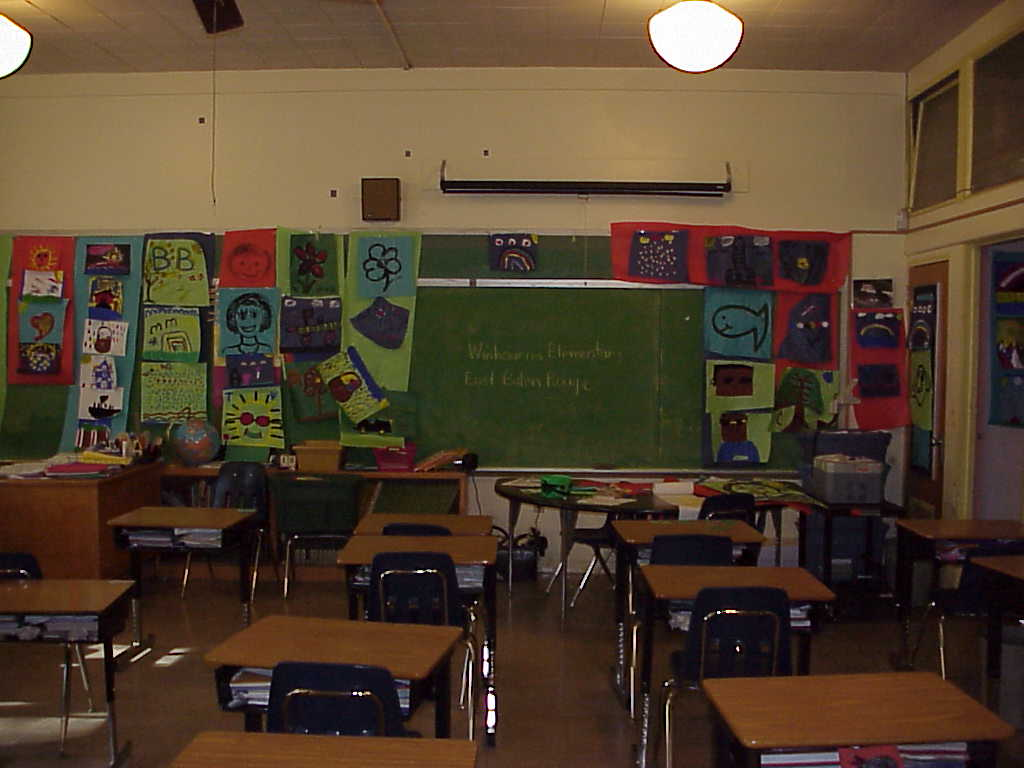 Our class room.  When getting ready for the LEAP test all the words had to be taken down.  We replaced words and letters with art